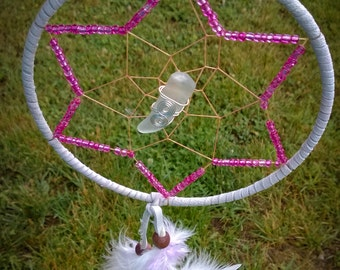 Pink Star and Sea Glass -  Dream Catcher