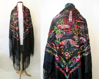 Gorgeous 1950's Chinese Silk Hand Embroidered Shawl with Long Fringe Rockabilly VLV Pinup Girl Boudoir Burlesque