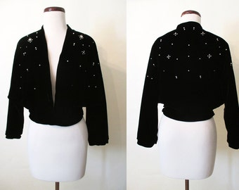 "Killer 1950's Black Velvet Cropped Cocktail Jacket w/  Pearls & Rhinestones by ""Sir James Made in California"" Rockabilly Pinup Size-Medium"