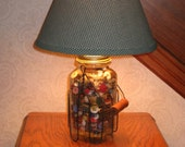 Rustic Lighting Antique Quilt Jar Lamp Buttons NEW Electric Farmhouse Cabin Decor Primitive Gift Gingham Shade
