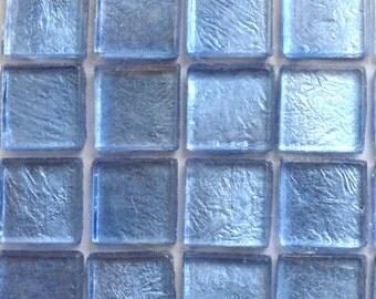 "15mm (3/5"") Blue Metallic Foil Backed Glass Mosaic Tiles//Mosaic//Mosaic Supplies/Crafts"