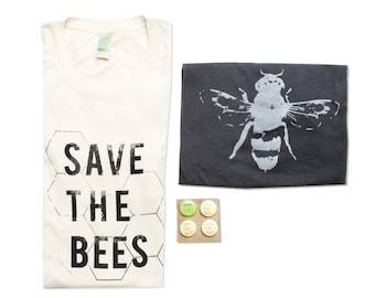 Organic Mens Bee Shirt Gift Bundle - Bamboo - Small, Medium, Large, XL - Organic Cotton - Eco-Friendly Gift Bundle