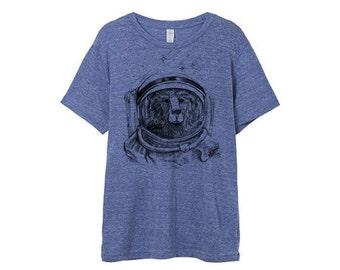 Mens Space Bear Shirt - Blue Eco Heather Cosmic Bear Shirt - Small, Medium, Large, XL, 2XL - Guys Astronaut Bear Shirt