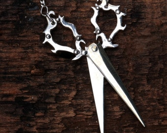 Victorian scissors opening and closing original carving cast in Sterling silver on a silver chain made in NYC Blue Bayer Design