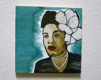 Original 8x8 Gesso Board Billie Holliday Watercolor Painting Signed