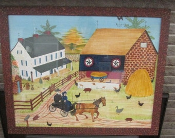 "Large Theorem Painting by Bill Rank ""Pettie's Farm"""