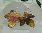 Enameled Brass Leaf Earrings