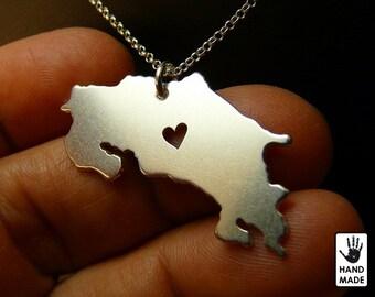 COSTA RICA sterling .925 silver necklace - Handmade - Custom Heart