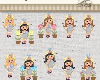 Gardening Girls 20 digital png files for scrapbooking, card making, digital and paper crafts