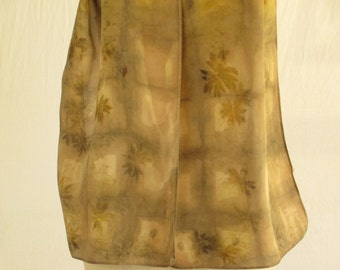 "Silk Scarf - Eco Fashion - Plant Dyed Ecoprint - Natural Dye - Brown Taupe Brass Buff Green - CDC051504 -  11""x57"" (28 x 144cm)"