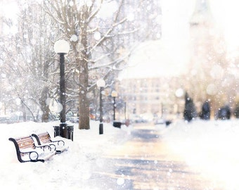 Winter Art Print, White Wall Art, Snow, Park Bench, Ottawa Canada, Rustic, Neutral, Mauve, Brown, White