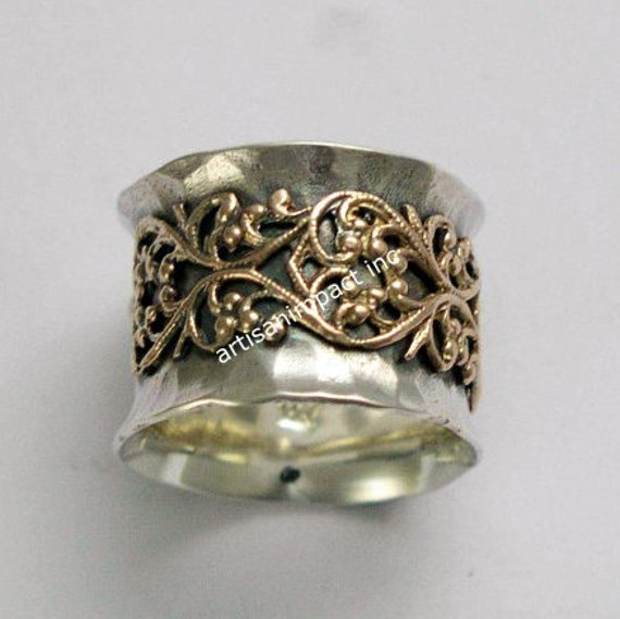 Gold and Silver Filigree Band, sterling silver band, oxidized band, gold filigree ring, two tone ring, statement ring - Misty R1146Z