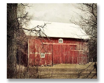 Red Barn Photography, Rustic Home Decor, Old Farm, Country Wall Art, Red Barn Photo, Rustic Wall Art, Barn Picture, Large Farm Print, 8x10