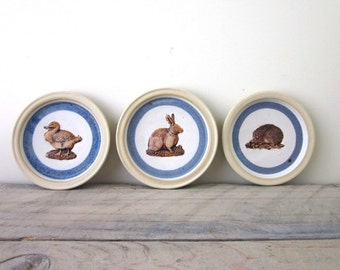 Vintage Stoneware Pottery Coasters Woodland Designs