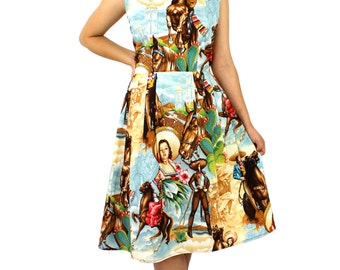 Cowgirls and Horses  Pleated Dress