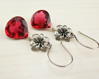 SALE! Hot Pink Quartz Earrings, Bright Pink Flower Earrings, Sterling Silver, Hot Pink Gemstone, Fuchsia Dangle Earrings