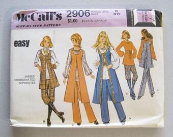 1970s Vintage McCall's Separates Blouse Top Vest Pants Knickers Pattern 2906 Easy Size 8 Bust 31 1/2 Uncut