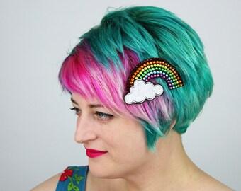 Rainbow Rhinestone with Cloud Hair Clip