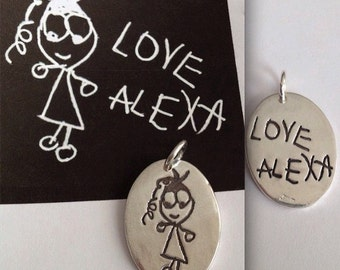 Double Sided Children's Artwork Oval Pendant or Necklace - Made to order
