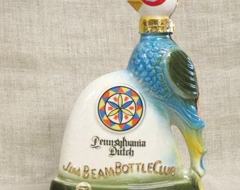 Decanter , Jim Beam , Pennsylvania Dutch , Penn , Bird , Folk Art  , Floral , Collectible Bottle , Liquor Decanter ,Whisky Bottle