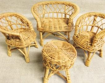 Dollhouse Furniture , Miniature Chairs , Sofa , Rattan , Wicker Furniture , Doll House , Patio Furniture , Miniatures , Natural , Tropical