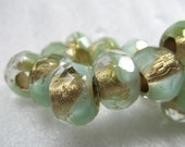 Czech Glass Beads 12 X 8mm Large Hole Sea Green and Clear with Gold Highlights Faceted Rondelles -  12 Pieces