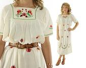 Vintage 70s Embroidered Tunic Dress Bib Caftan Dress Short Sleeve Ivory Cotton Dress 1970s Hippie Dress Large L