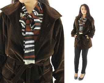Vintage 70s CHRISTIAN DIOR Trench Coat Jacket Brown Velvet Coat Womens Designer Fashion 1970s Medium M Overcoat Dress Coat Belted