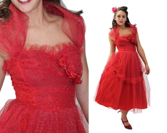 Vintage 50s Red Prom Dress Party Dress Strapless Formal Dress Full Skirt Tulle Roses Shawl Collar 1950s Small S XS