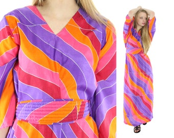 Vintage 70s Hawaiian Caftan Dress NOS Maxi Dress Maxidress Muumuu Abstract Dress Resort Fashion 1970s Medium M Large L Hippie Dress
