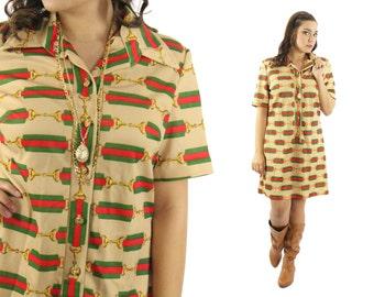 Vintage 70s Mini Dress Novelty Print Dress Short Sleeve Shirt Dress Button Up Fall Fashion Hippie Dress Boho Dress 1970s Medium M
