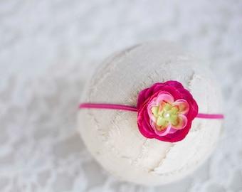 Bright Pink. Flower Headband. Silk Flower. Pearl. Skinny Elastic. Girl. Baby. Photopraphy Prop. Newborn. Tolola Designs.