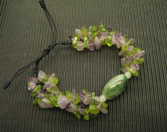 Purple and Green ... Natural Jade / Amethyst / Peridot /  Bracelet ... Handknotting Jewelry