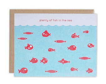 You're the Only Fish for Me - Letterpress card, Valentines Day Card