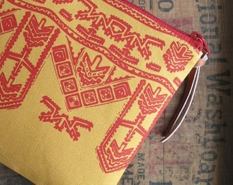 Makeup Bag Southwest Tribal Boho Clutch Yellow Canvas Zipper Pouch Smartphone Purse Bohemian Cosmetic Bag Teacher Gift Valentines Day