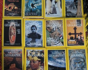 COMPLETE 1996 NATIONAL GEOGRAPHIC Magazine, All 12 Magazines Year of  '96, Fair Used Condition, Neandertals, Penguins, Dinosaur Eggs