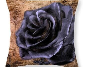 Black Rose Throw Pillow, Bedroom, Livingroom, Family Room, Sleep, Housewarming, Decorative, Free Shipping,