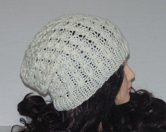 Slouchy Beanie, Hat in cream with a twisted design, Womans Accessories, winter gift hat