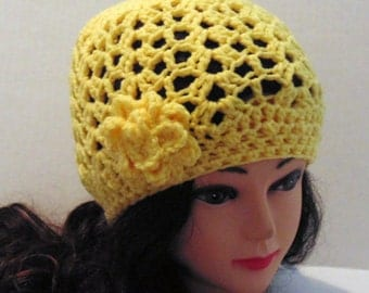 Crochet Hat, Womens Hat, Yellow Hat, Womans Accessories, Crochet Hat with Flower, Yellow Beanie, Spring Hat