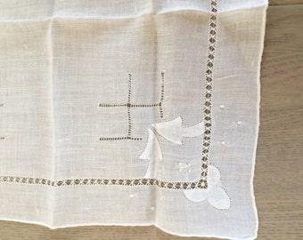 Vintage Linen Embroidered Wedding White Handkerchief