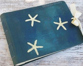 Beach Wedding Photo Album or Guest Book, Hand painted, Starfish on Ocean Blue, 10x8, MADE UPON ORDER
