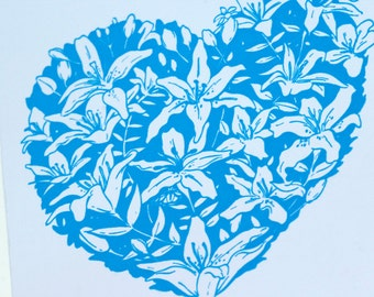 SALE - Sympathy letterpress card - Lily Heart - 60% off