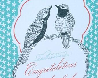 SALE  - Congrats Wedding Engagement greeting card - Love birds - 50% off