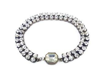 Art Deco Czech Crystal Bracelet - Czechoslovakia, Rhinestone Bracelet, Art Deco Bracelet, Clear Rhinestone, Antique Jewelry, Wedding Bride