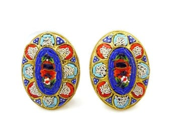 Italian Micromosaic Flower Earrings - Made in Italy, Floral Flower, Red Blue White, Glass Tiles, Vintage Jewelry