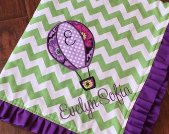 Personalized Baby Blanket- Hot Air Balloon Baby Blanket- Chevron Minky Blanket- Applique Baby Blanket