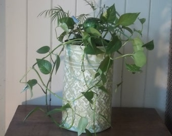 TALL plant HOLDER in old ceiling tin Great Pattern