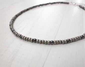 Mens beaded necklace grey beads short necklace glass beads hematite stones