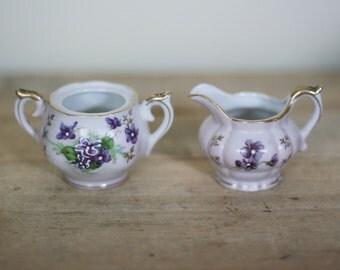 vintage lefton creamer and sugar bowl violet pattern