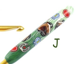 Susan Bates, J 10/ 6.00mm Polymer Clay Covered Crochet Hook, Horse Lover